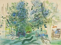 Raoul Dufy (French, 1877-1953), Les charettes à Montsaunès [Wheelbarrows at Montsaunès], 1943. Watercolour on paper, 50.5 x 66.6 cm.
