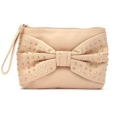 Nude Stud Bow Clutch ($20) ❤ liked on Polyvore