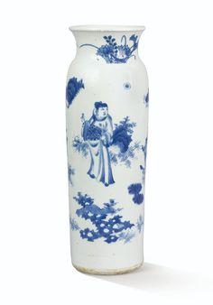 Vase en porcelaine bleu blanc XVIIe siècle