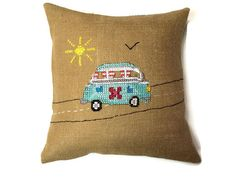 VW Bus Burlap Pillow - Cross Stich and Burlap and Chevron Pillow Cover - 16 Inch on Etsy, $25.00