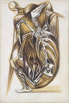 "Pollock,Untitled (Figure Composition) - 1938-41 - Colored pencils on paper - H15""XW10"" - Metropolitan Museum of Art - Copyright PKF/ARS"