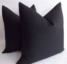 Set of 2 / Black Linen Pillow Linen Pillow Cover by mertakkul