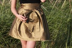 Gold iridescent silk skirt #etsy