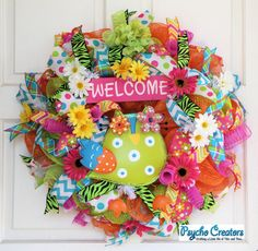 Welcome Owl Deco Mesh Wreath Colorful Spring by PsychoCreators