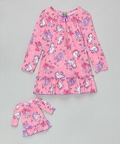 Look what I found on #zulily! Pink Unicorn Nightgown & Doll Nightgown - Girls #zulilyfinds