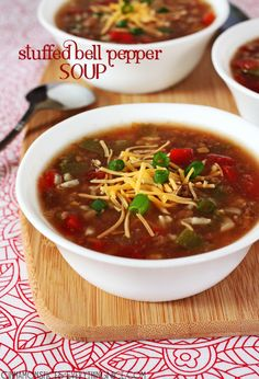Slow-Cooker Stuffed Bell Pepper Soup Recipe ~ Stuffed bell peppers reincarnated in a soup! With ground beef, rice, peppers, tomatoes, onions and cheddar cheese in a spicy broth.