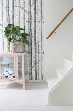 Hallway | Cole & Son wallpaper & vintage cabinet in 'peach'