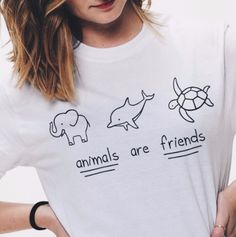 Animals Are Friends Graphic Tops - infinity owl