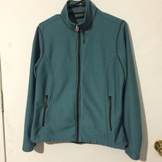 Eddie Bauer fleece zip up sweater Very pretty teal color with zip pockets on each side Eddie Bauer Jackets & Coats