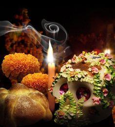 Ofrenda dia de muertos; calaverita, vela, cempasutchilcempasúchil y pan de muerto.
