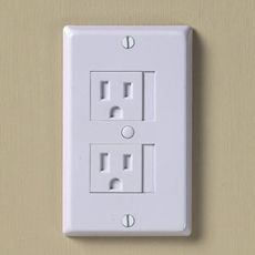 Genius! slide outlet cover over to use. when you pull the cord out, it automatically shuts. no more horrible plastic child proof plugs that you can never get out!