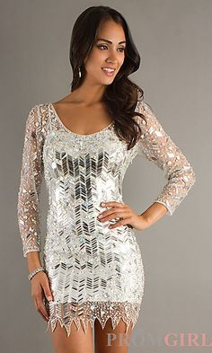 Short Long Sleeve Silver Sequin Dress by Dave and Johnny at PromGirl.com DJ-8336