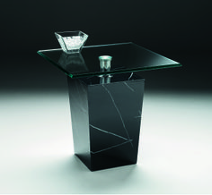 Cosmic Lamp Table - bevelled glass tops supported by striking marble bases with chrome columns