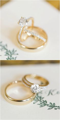 Diamonds, gold engagement ring, pave band, hunter green monogram // C. Tyler Corvin Studio