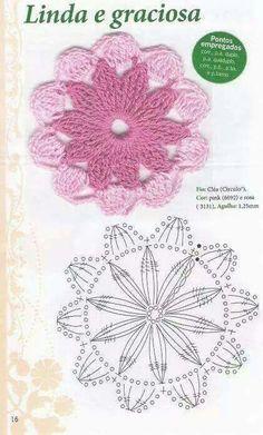Flores a ganchillo con gráfico.