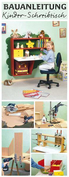 Für Kinder ist dieser Schreibtisch perfekt - da er an der Wand befestigt wird, nimmt er auch kein Platz im Kinderzimmer weg. Wir zeigen dir, wie du ihn selbst bauen kannst.