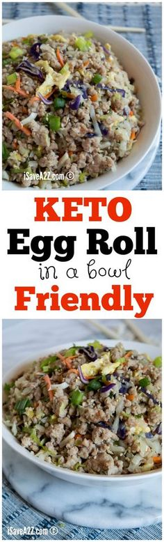 Keto Egg Rolls (in a bowl) Recipe! Plus we have a dough recipe! Check out the recipe experiment we did to get the dough to work! via @isavea2z