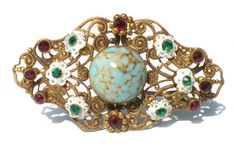 Vintage Rhinestone Jewelry Brooch Ornate Stamped от RibbonsEdge