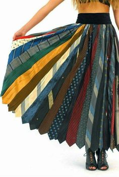 Recycle ties into a skirt!