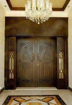 Wooden Bifold Doors, Wooden Front Door Design, Modern Wooden Doors, Double Door Design, Door Gate Design, Wood Front Doors, Patio Doors, Double Doors Interior, Door Design Interior