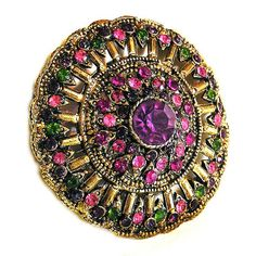 Hollycraft+1960's+Pink+Amethyst+and+Green+by+AgedandOpulentJewels