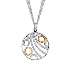 Simon G Two-tone Rose/White Gold Diamond Circle Pendant Necklace Chain TP105.  From the Saturn Collection by Designer Simon G, this pendant is an 18kt rose and white gold diamond circle pendant. The pendant has three rows of beautiful pave' set round diamonds with white and rose gold pave diamond circles on each side. The chain is an 18kt white gold triple-strand circular link which measures about 2-3mm.