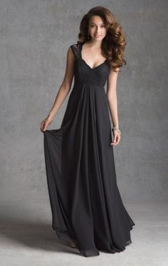 The Most Popular Chiffon Black Formal Bridesmaid Dress(Color: Black  Fabric: Chiffon  Built In Bra: Yes  Fully Lined: Yes  Tailor Made: Yes)