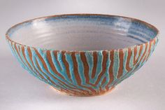 Textured one off stoneware bowl. by lesleymcs on Etsy (Home & Living, Kitchen & Dining, Dining & Serving, one off, durable, blue, textured, unique, striped, stoneware clay, wheel thrown, handmade, potters stamped)