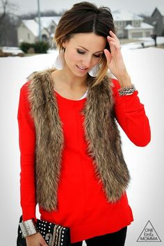 Dress for the holidays in faux fur, bright red and neutrals