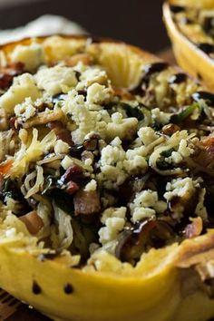 Spinach Bacon Bleu Cheese Spaghetti Squash. 14 Spaghetti Squash Bowls You Need in Your Life via @PureWow