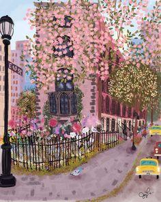 Spring in the East Village at ArtfullyWalls, Spring in NYC illustration Spring in the East Village by Joy Laforme on Artfully Walls Poster Xxl, Afrique Art, Art Mignon, City Scene, Art Et Illustration, East Village, Aesthetic Art, Cute Art, Art Inspo
