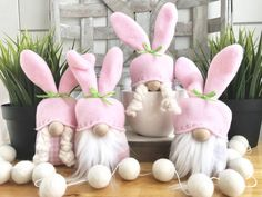 Mini Easter Bunny Gnomes Set of 4 - Holiday wreaths christmas,Holiday crafts for kids to make,Holiday cookies christmas, Easter Crafts, Crafts For Kids, Diy Crafts, Easter Decor, Easter Ideas, Easter Centerpiece, Bunny Crafts, Easter Table, Easter Party