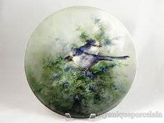 "ANTIQUE LIMOGES FRANCE 13-3/4"" LARGE PLATE CHARGER HANDPAINTED BLUE BIRDS BERRYS"