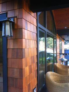 Cedar shingles create quite the outdoor style. I like this black trim Cedar Shingle Siding, Cedar Shake Siding, Cedar Shingles, House Siding, Exterior Siding, Exterior Paint, Exterior Design, House Shingles, Vinyl Shake Siding
