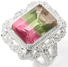 Fancy multicolor tourmaline ring - more →… Gems Jewelry, Pearl Jewelry, Fine Jewelry, Tourmaline Jewelry, Tourmaline Gemstone, Family Jewels, Watermelon Tourmaline, Rocks And Gems, Jewelry Design