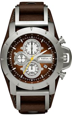 Fossil Mens JR1157 Brown Leather Strap Brown Analog Dial Chronograph Watch < $89.00 > Fossil Watch Men