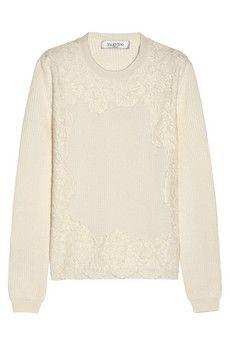 Valentino Lace-appliquéd cotton-blend sweater   NET-A-PORTER