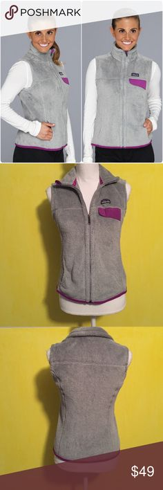 Patagnoia vest Women's Patagonia Re tool vest, size small, gently worn and in good condition with no flaws, gray with purple pocket. Super comfy and perfect for fall and winter. Bundle to save 10% off  Patagonia Jackets & Coats Vests