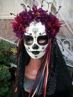 "Dia de Los Muertos- Day of the Dead - Beautiful Catrina Mask ""Sangria"""