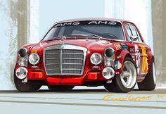 Studies: Mercedes and Jaguar on Behance Mercedes Benz 300, Classic Mercedes, Car Illustration, Car Drawings, Automotive Art, Vintage Racing, Custom Cars, Art Cars, Jaguar