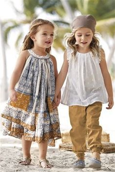 Love color schemes, patterns, style, head scarf...okay I love EVERYTHING about these outfits! #littlegirloutfits