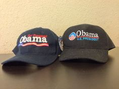 Campaign Hat & Cap Saying U.S. President is #Obama 2 Piece Lot generic/authentic