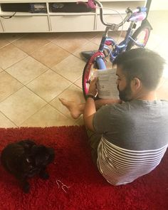 Mr M totally pulling off the 'I'm ready for fatherhood' look today. Assembling little Miss 4's bike he bought for her after hearing hers was taken. Zeus wanted in on the action too you know being the jealous cousin and all who too wants a bike I told him it's fine he can ride in the rad basket #burstingovaries #husbandoftheyear #uncleoftheyear #mylove