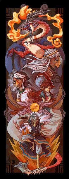 The Legend of Zelda: The Wind Waker | Valoo, Rito Chieftain, Prince Komali, Medli, and Quill / Dragon Roost by Turtle-Arts