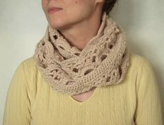 Crocheted scarf for spring Cowl infinity by NeedlesOfSvetlana