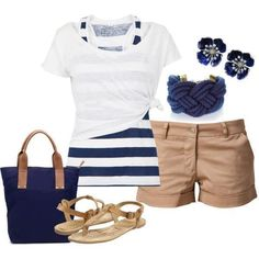 Casual nautical shorts style with striped top, neutral cargo shorts and blue accessories!
