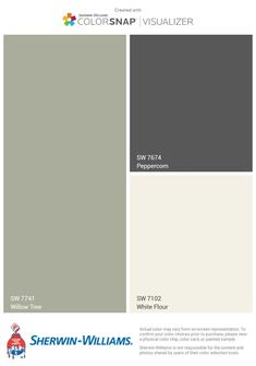 New colors downstairs. Half bath in Peppercorn (done!), Kitchen in Willow Tree, dining in White Flour or something similar but creamier? Exterior Paint Colors For House, Paint Colors For Home, Exterior Colors, Peppercorn Sherwin Williams, Sherman Williams Paint, Powder Room Decor, Front Door Colors, Exterior Makeover, Willow Tree