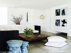 Home sweet home: The family's earthy and simplistic lounge area