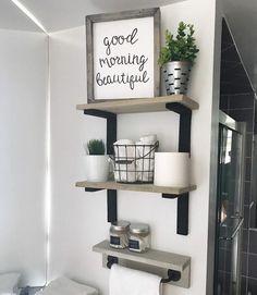 70 New Ideas For Bath Room Shelves Over Toilet Diy Powder Rooms Diy Home Decor On A Budget, Easy Home Decor, Bathroom Shelves Over Toilet, Bathroom Pics, Small Bathroom, Bathroom Ideas, Small Shelves, Floating Shelves, Rustic Bathrooms