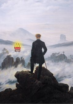 Iron Jaws. In a misty abyss depicted in Wanderer above the Sea of Fog, allights an alluring symbol of modern civilization: McDonald's golden arches.Italian artistFrancesco Vullointelligently lam…